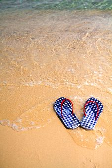 Free Checked Flip-flops On The Beach Stock Photography - 15678812
