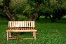 Wood Bench In Garden Royalty Free Stock Photos