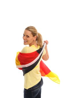 Free Blond Girl With A German Flag Stock Photos - 15680593