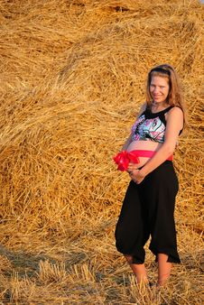 Free The Pregnant Girl With A Gift In A Stomach Royalty Free Stock Photo - 15682005