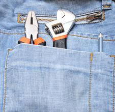 Free Tools In A Blue Jeans Pocket Stock Photography - 15683002