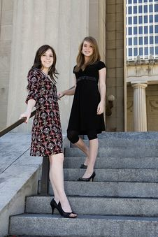 Free Two Young Females On Stairs Downtown Stock Images - 15684604
