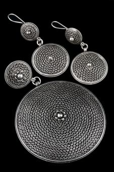 Silver Earrings And Pendent Royalty Free Stock Images