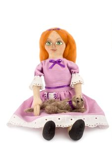 Free Soft Toy Girl And Cat Royalty Free Stock Image - 15685506