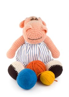 Soft Toy Hippopotamus And Balls Of Thread Royalty Free Stock Images