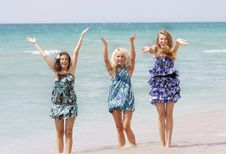 Free Happy Girls On Beach Stock Photo - 15686800