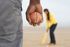 Free Young Couple Playing Cricket On Autumn Beach Holid Stock Photo - 15687030