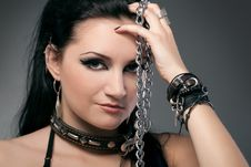 Young Naked Woman In Chain Royalty Free Stock Images