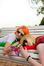 Free Two Girls At The Summer Park Stock Photos - 15695813
