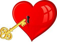 Free Golden Key Opens The Heart Stock Photos - 15690173