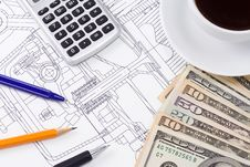 Free Coffee, Dollars And Pens Stock Photos - 15690213