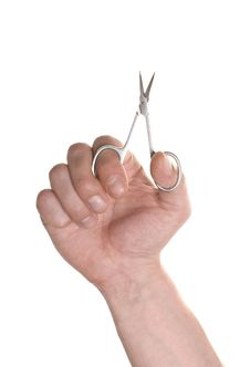 Free Well Shaped Men S Hand With A Manicure Scissors Royalty Free Stock Images - 15690499