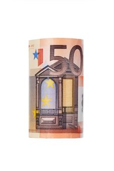 Rolled Up Fifty Euro Royalty Free Stock Image