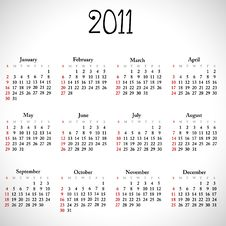 Free Simple Calendar Of 2011. Stock Photos - 15692363