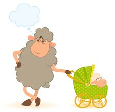 Sheep With Scribble Baby Carriage Royalty Free Stock Photos