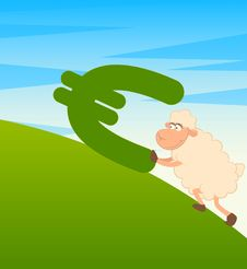Free Sheep With The Sign Of Euro Stock Photo - 15693500
