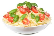 Free Pasta With Tomato And Basil Stock Photos - 15693603