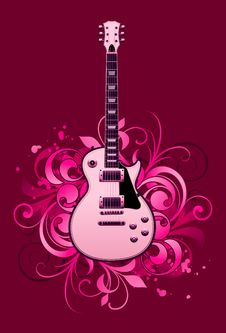 Abstract With Electric Guitar Stock Photo
