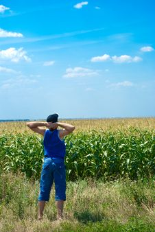 Free Man Looking At The Field Stock Photo - 15695730