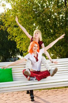Free Two Teenage At The Summer Park Royalty Free Stock Image - 15695746