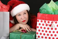 Christmas Brunette Royalty Free Stock Photography