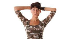 Free Beautiful Woman In Military Shirt Stock Image - 15697971