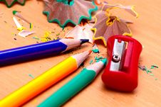 Free Pencils With A Sharpener And Shaving Royalty Free Stock Photo - 15698215