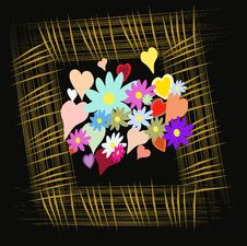 Free Frame With Flower And Heart On Black Background Stock Images - 15698814