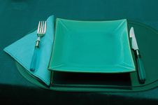 Empty Dish, Fork And Knife. Stock Photo
