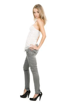 Free Woman On White Background Stock Images - 15699794