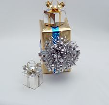Vertical Trio Of Gifts Royalty Free Stock Photo