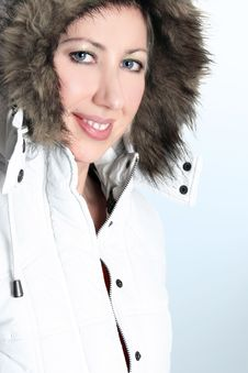 Free Winter Woman In A Hooded Parka Royalty Free Stock Photography - 1574277