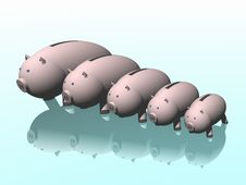 Free Piggy Bank. 2007. Family Of Pigs Royalty Free Stock Photo - 1575335