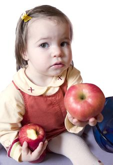 Free Little Girl With Apples Royalty Free Stock Photo - 1578405