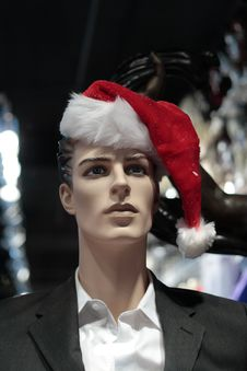 Mannequin With Santa Claus Hat Royalty Free Stock Photos