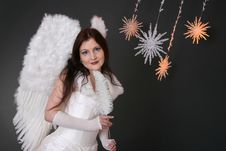 Free White Angel With Crystal Stars Stock Image - 1578531