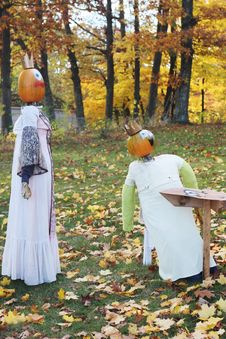 Free Pumpkin People Outside During Fall Stock Photography - 1578602