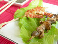 Free Shrimp And Octopus, Mounted On Skewers. Royalty Free Stock Image - 15702446