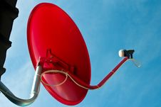 Free Red Satellite Dish With Blue Sky Royalty Free Stock Image - 15700576