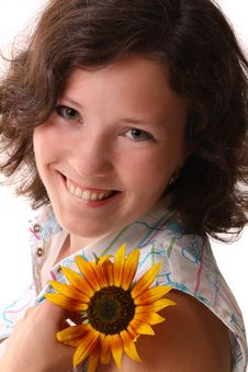 Free Happy Beautiful Woman With Sunflower Royalty Free Stock Photography - 15700637