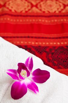 Free White Towel And Orchid Stock Photos - 15701013