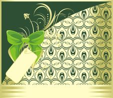 Free Green Bow With Ornament. Decorative Card Stock Images - 15701434