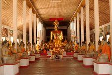 Hall Of Buddha. Royalty Free Stock Photo