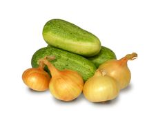 Cucumbers And Onions. Stock Photo