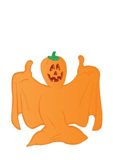 Free Vector Illustration An Orange Ghost Stock Photography - 15702892