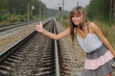 Free The Young Beautiful Girl At A Station Stock Images - 15703124