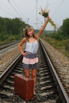 Free The Young Beautiful Girl At A Station Royalty Free Stock Image - 15704126