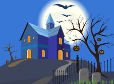 Halloween Pumpkin And House. Vector. EPS8. Stock Photography