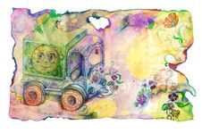Free Grunge Paper With Child S Truck And Flowers Royalty Free Stock Photography - 15704547