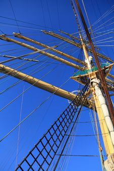 Ship Tackles, Rigging On A Old Frigate Royalty Free Stock Image